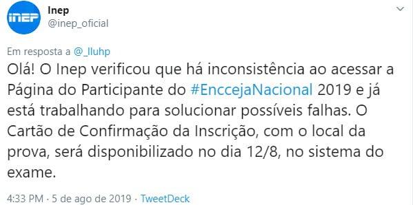 Inep Divulga Local De Prova Do Encceja 2019