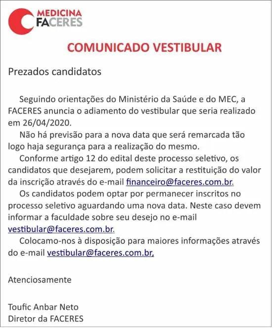 Comunicado Faceres Medicina 2020.2